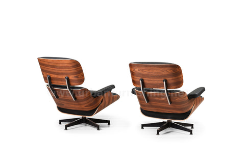Mid-Century Plywood Lounge Chair and Ottoman - Black/Palisander, TALL Version (SOLD OUT! Pre-order now, ships: 9/30/20)