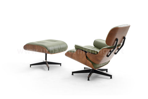 Mid-Century Plywood Lounge Chair and Ottoman - Olive/Walnut