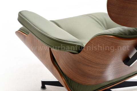 Mid-Century Plywood Lounge Chair and Ottoman - Ultra Premium Version, Olive/Walnut (BACK-ORDER, ETA: 6/2/20)