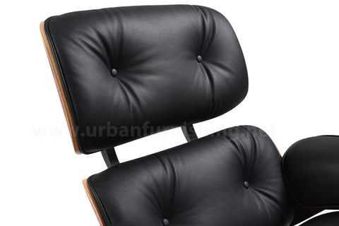 Mid-Century Plywood Lounge Chair and Ottoman - Black/Palisander