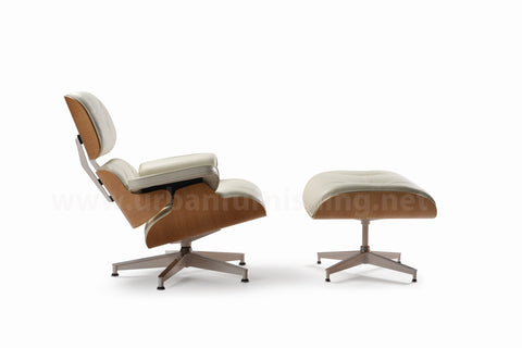 Mid-Century Plywood Lounge Chair and Ottoman - Ivory/White Oak