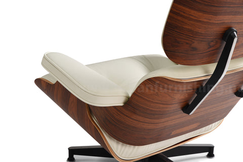 Mid-Century Plywood Lounge Chair and Ottoman - Ultra Premium, Ivory/Palisander, TALL Version (Back-in-stock: 8/31/20)