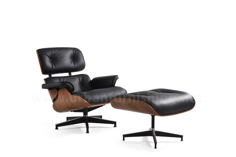 Mid-Century Plywood Lounge Chair and Ottoman - Black/Walnut