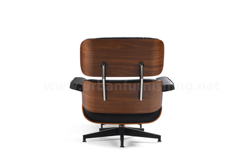 Mid-Century Plywood Lounge Chair and Ottoman - Ultra Premium Version,  Black/Walnut (BACKORDER, ETA: 8/15/20)