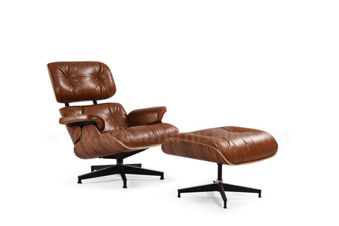 Mid-Century Plywood Lounge Chair and Ottoman - Ultra Premium, Antique Brown/Palisander, TALL Version (New Item, ETA: 9/15/20)