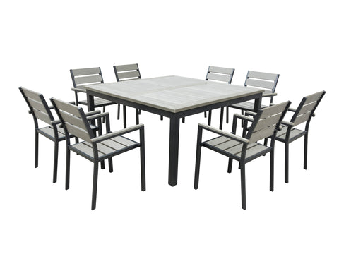 9 Piece Eco-Wood Square Table Outdoor Patio Dining Set - Rustic Gray
