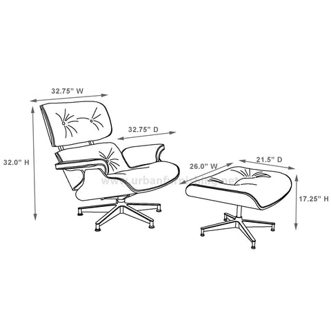 Eames Style Lounge Chair And Ottoman 100 Aniline
