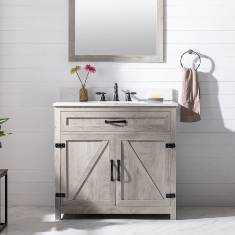 "Ethan 36"" Modern Farmhouse Bathroom Vanity Set - Gray Wash"