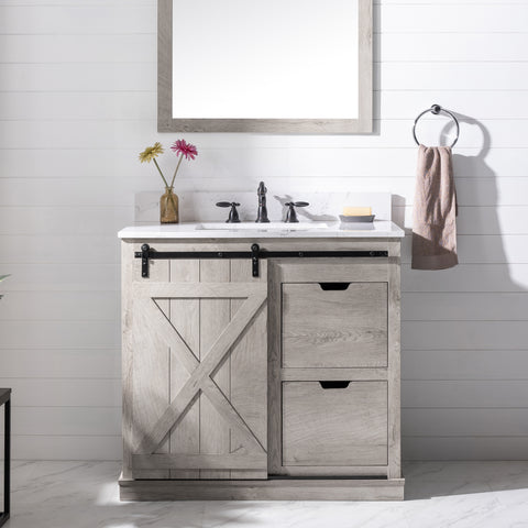 "Francis 36"" Modern Farmhouse Bathroom Vanity Set - Gray Wash"