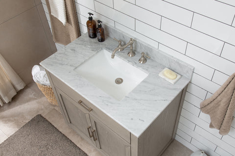 "Grace 36"" Mid-century Vanity Set with White Italian Carrara Marble Top - Antique Gray"