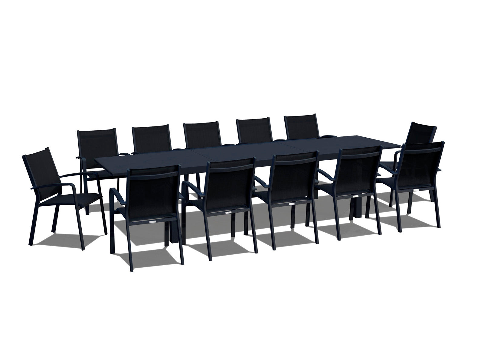 Wondrous 13 Piece Extendable Modern Patio Dining Set Black On Black Inzonedesignstudio Interior Chair Design Inzonedesignstudiocom