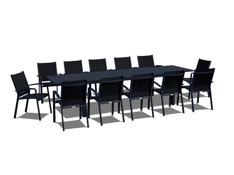 13 Piece Extendable Modern Patio Dining Set - Black on Black