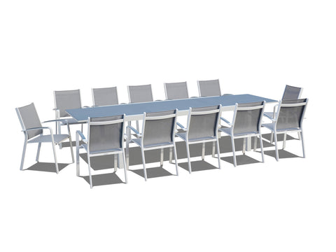 13 Piece Extendable Modern Patio Dining Set - Gray / White