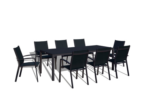 9 Piece Modern Patio Dining Set - Black on Black
