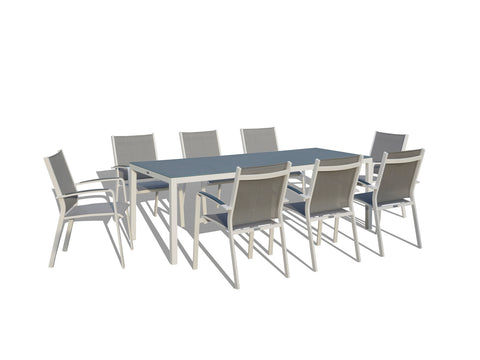 9 Piece Modern Patio Dining Set - Gray / White