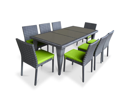 9 Piece Wicker Outdoor Patio Dining Set - Gray Wicker / Lime Green