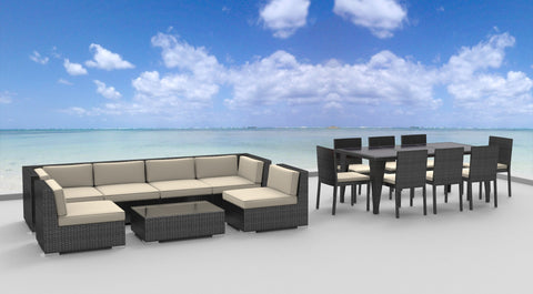 Gray Series - 16 pc Ultra Modern Wicker Patio Set