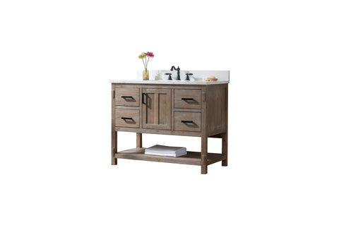 "Harvey 42"" Rustic Modern Farmhouse Vanity with Carrara White Top - Brown Spruce"