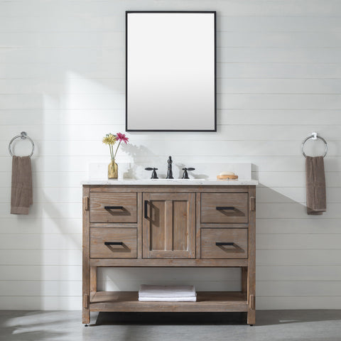 "Harvey 42"" Rustic Modern Farmhouse Vanity with Carrara White Top - Brown Spruce (SOLD OUT! PRE-ORDER NOW, SHIPS: 07/31/21)"