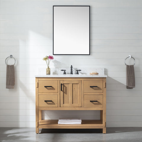"Harvey 42"" Rustic Modern Farmhouse Vanity with Carrara White Top - Light Spruce"