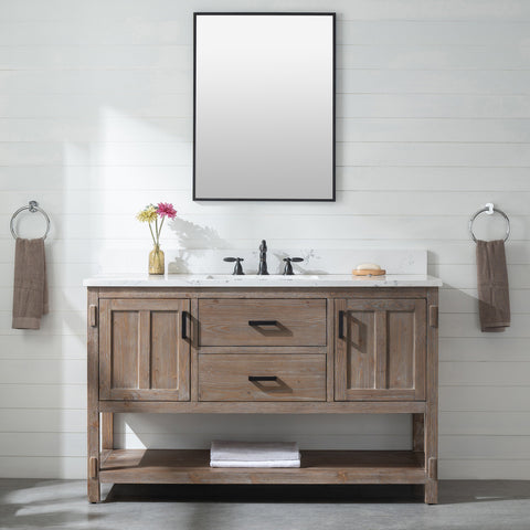 "Harvey 54"" Rustic Modern Farmhouse Vanity with Carrara White Top - Brown Spruce"