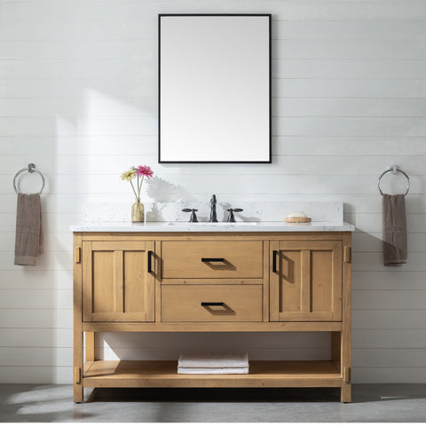 "Harvey 54"" Rustic Modern Farmhouse Vanity with Carrara White Top - Light Spruce"