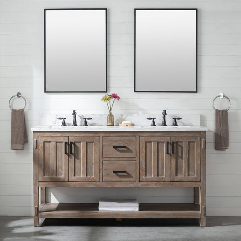 "Harvey 60"" Rustic Modern Farmhouse Vanity with Carrara White Top - Brown Spruce (SOLD OUT! PRE-ORDER NOW, SHIPS: 07/31/21)"
