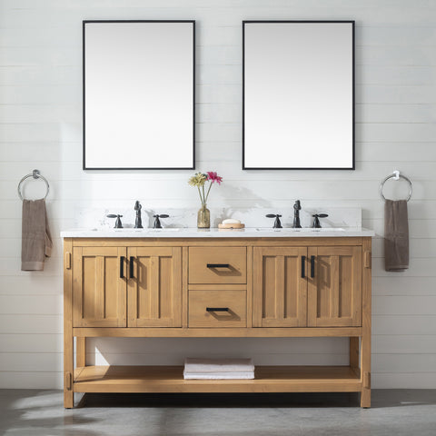 "Harvey 60"" Rustic Modern Farmhouse Vanity with Carrara White Top - Light Spruce"
