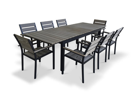 9 Piece Eco-Wood Extendable Outdoor Patio Dining Set - Rustic Gray