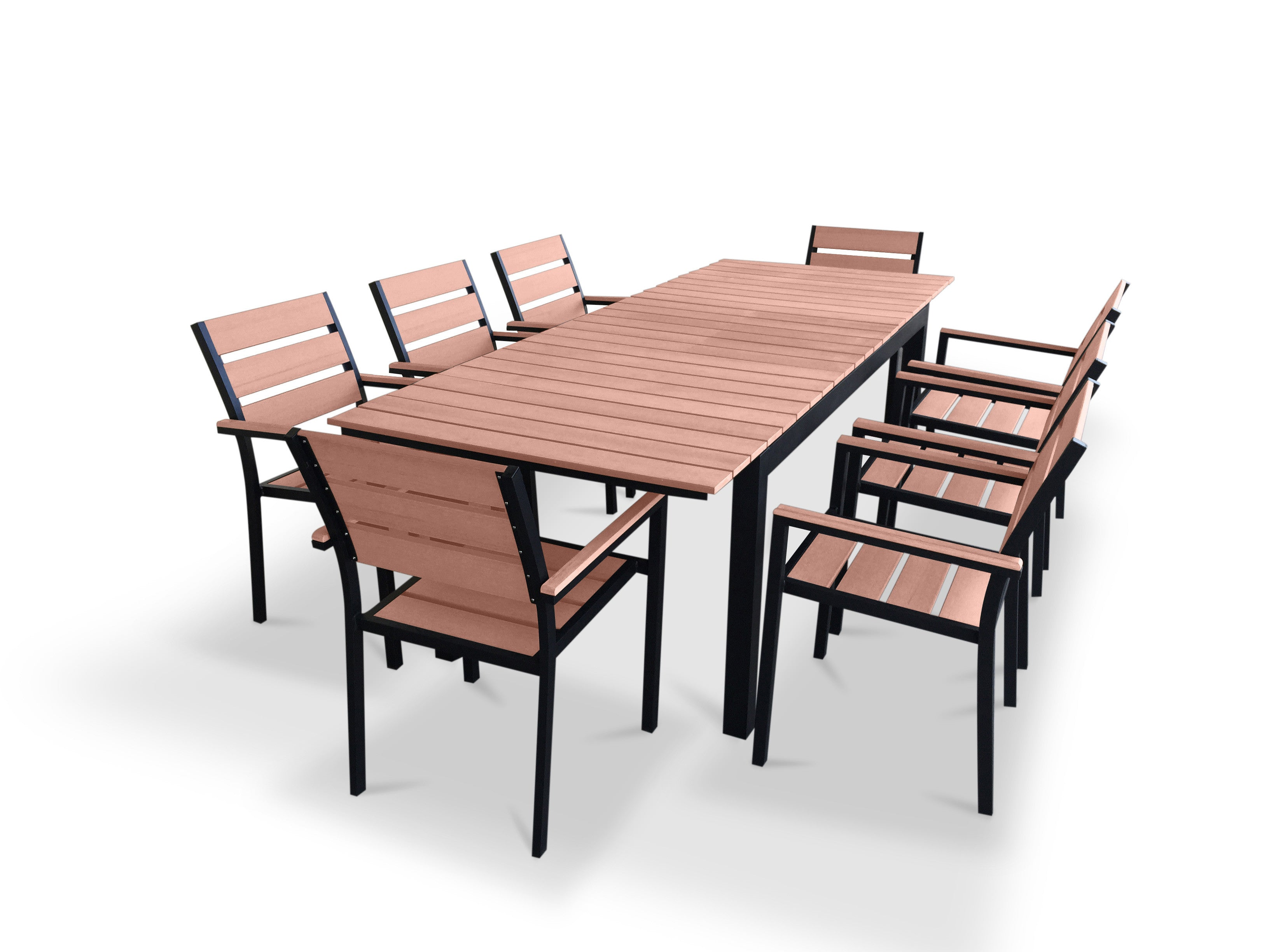 9 piece eco wood extendable outdoor patio dining set for Jardin 8 piece dining set