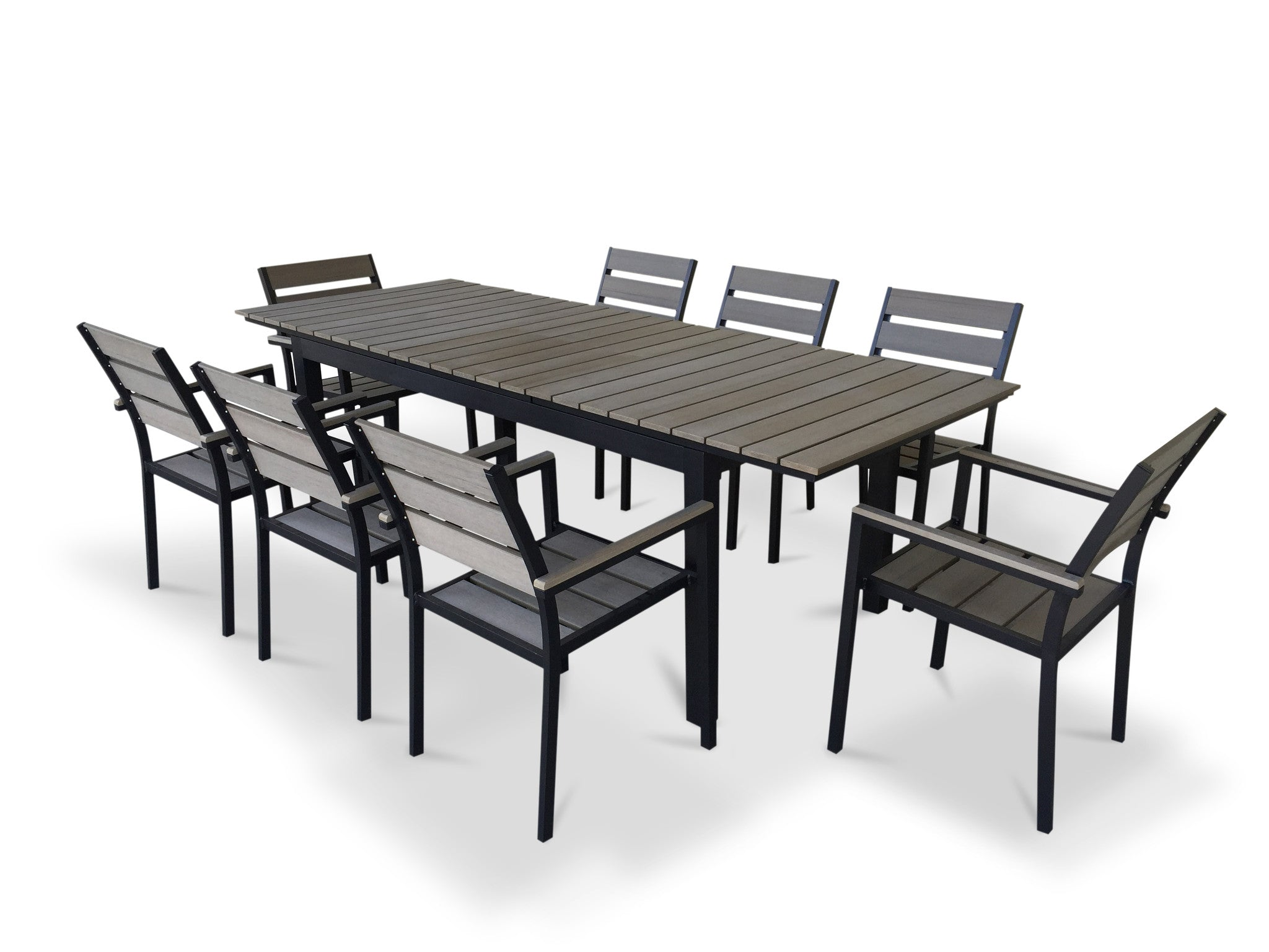 9 Piece Eco Wood Extendable Outdoor Patio Dining Set   Rustic Gray9 Piece Eco Wood Extendable Outdoor Patio Dining Set   Rustic Gray  . Extendable Outdoor Dining Sets. Home Design Ideas