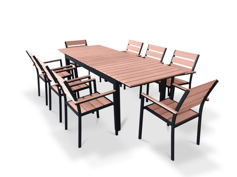 9 Piece Eco-Wood Extendable Outdoor Patio Dining Set - Weathered Brown