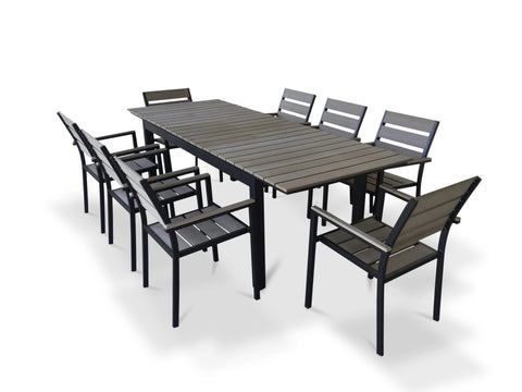 9 Piece Eco-Wood Extendable Outdoor Patio Dining Set - Rustic Gray  **SOLD OUT**