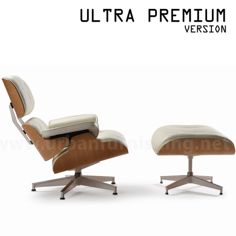Mid-Century Plywood Lounge Chair and Ottoman - Ultra Premium Version, Ivory/White Oak (Back-in-stock: 8/31/20)