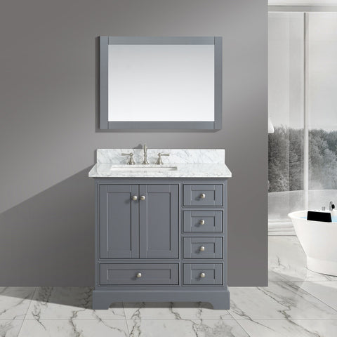 "Jocelyn 36"" Vanity Set with White Italian Carrara Marble Top - Charcoal **SOLD OUT**"