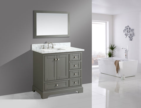 "Jocelyn 36"" Vanity Set with White Italian Carrara Marble Top - Distressed Gray"