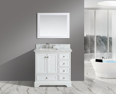 "Jocelyn 36"" Vanity Set with White Italian Carrara Marble Top - White (SOLD OUT)"
