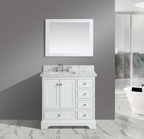 "Jocelyn 36"" Vanity Set with White Italian Carrara Marble Top - White **SOLD OUT**"