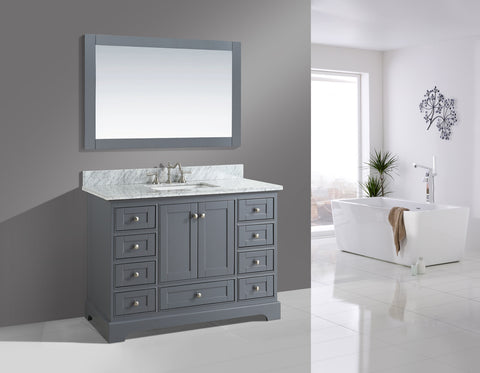 "Jocelyn 48"" Vanity Set with White Italian Carrara Marble Top - Charcoal"