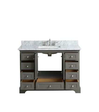 "Jocelyn 48"" Vanity Set with White Italian Carrara Marble Top - Distressed Gray"