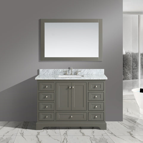 "Jocelyn 48"" Vanity Set with White Italian Carrara Marble Top - Distressed Gray **SOLD OUT**"