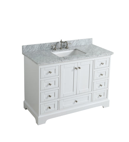"Jocelyn 48"" Vanity Set with White Italian Carrara Marble Top - White **Sold Out**"