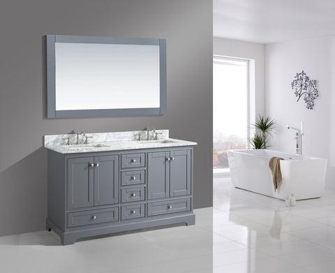 "Jocelyn 60"" Vanity Set with White Italian Carrara Marble Top - Charcoal"