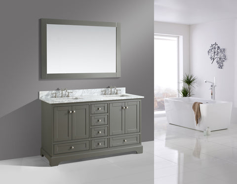 "Jocelyn 60"" Vanity Set with White Italian Carrara Marble Top - Distressed Gray"