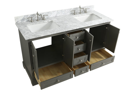 "Jocelyn 60"" Vanity Set with White Italian Carrara Marble Top - Distressed Gray **SOLD OUT**"