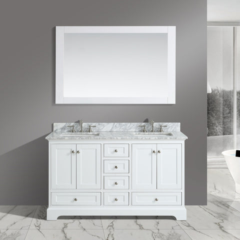 "Jocelyn 60"" Vanity Set with White Italian Carrara Marble Top - White"