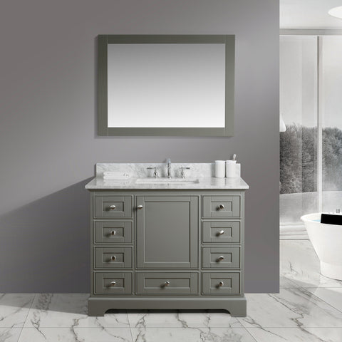 "Jocelyn 42"" Vanity Set with White Italian Carrara Marble Top - Distressed Gray"