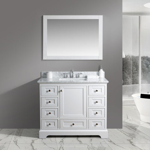 "Jocelyn 42"" Vanity Set with White Italian Carrara Marble Top - White"