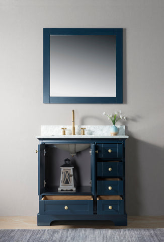 "Jocelyn 36"" Vanity Set with White Italian Carrara Marble Top - Blue"