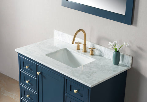 "Jocelyn 42"" Vanity Set with White Italian Carrara Marble Top - Blue"